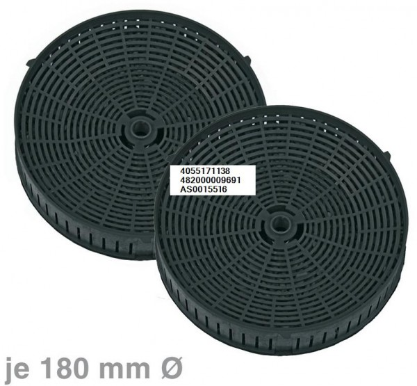 Kohlefilter Ø180mm, 2 Stück rundes Aktivkohlefilterset ''Type 57'' 4055171138 482000009691 AS0015516