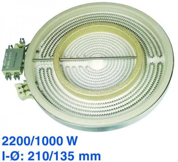 Strahlheizkörper 210/135mmØ 2200/1000W 230V EGO 10.51213.432 passend wie AEG Privileg Siemens Bosch